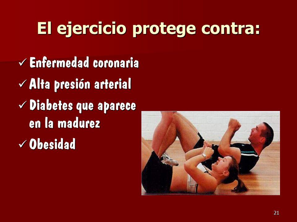 El ejercicio protege contra: