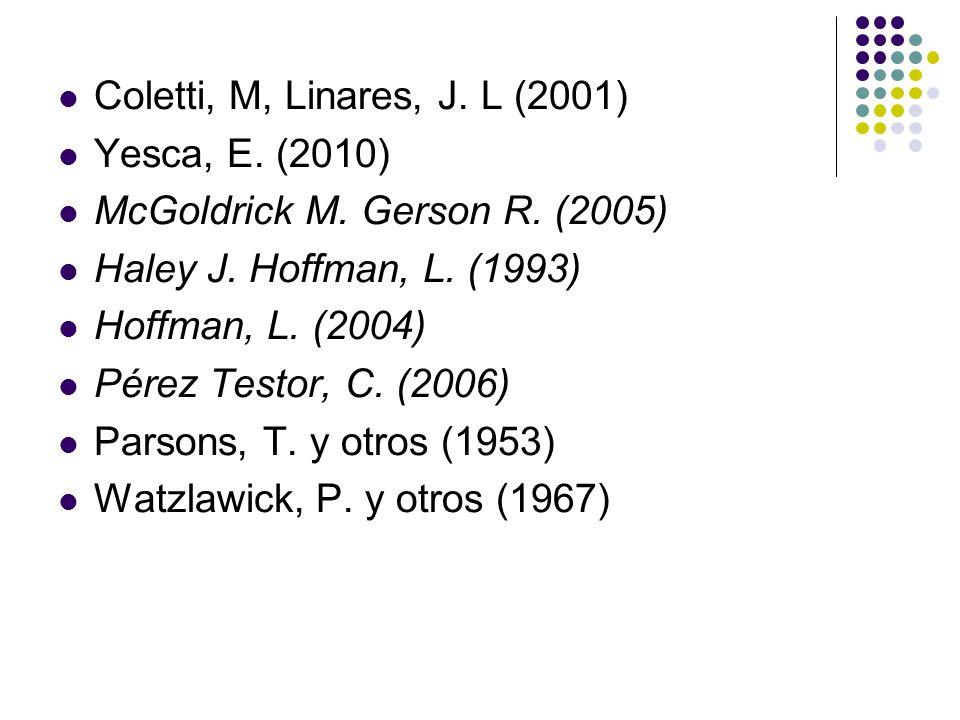 Coletti, M, Linares, J. L (2001) Yesca, E. (2010) McGoldrick M. Gerson R. (2005) Haley J. Hoffman, L. (1993)