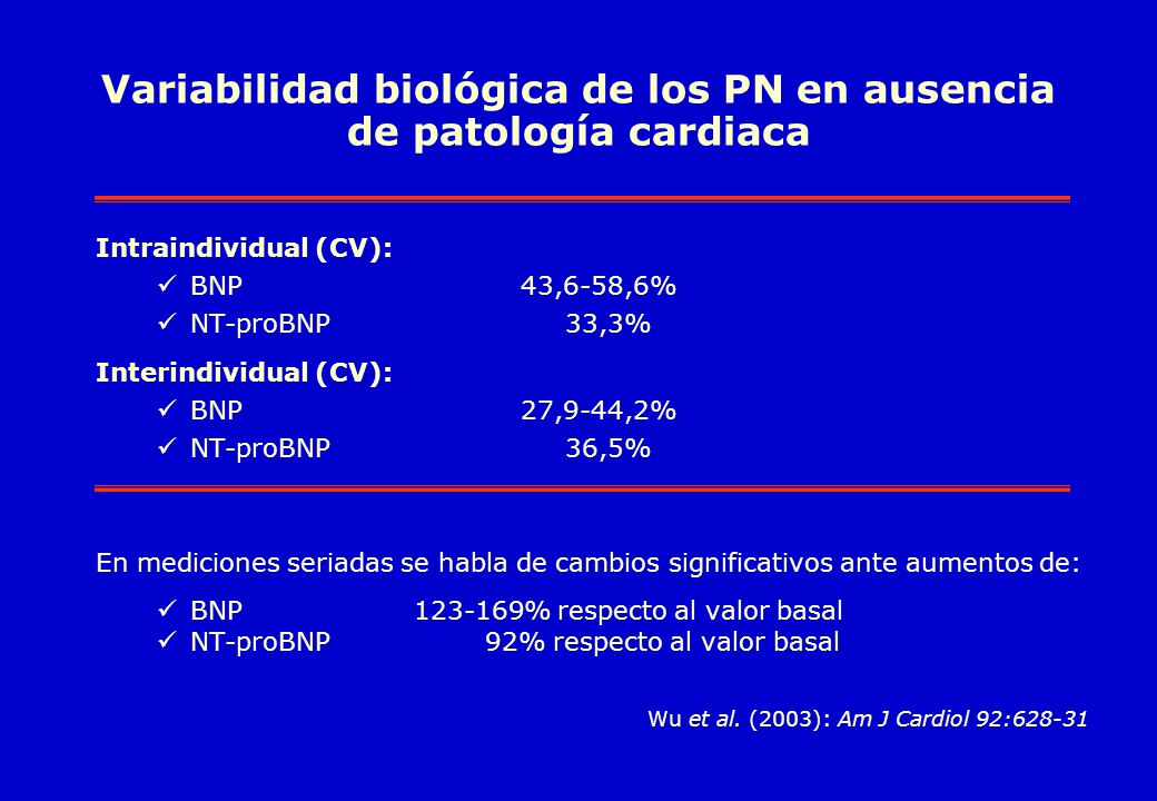 Variabilidad biológica de los PN en ausencia de patología cardiaca