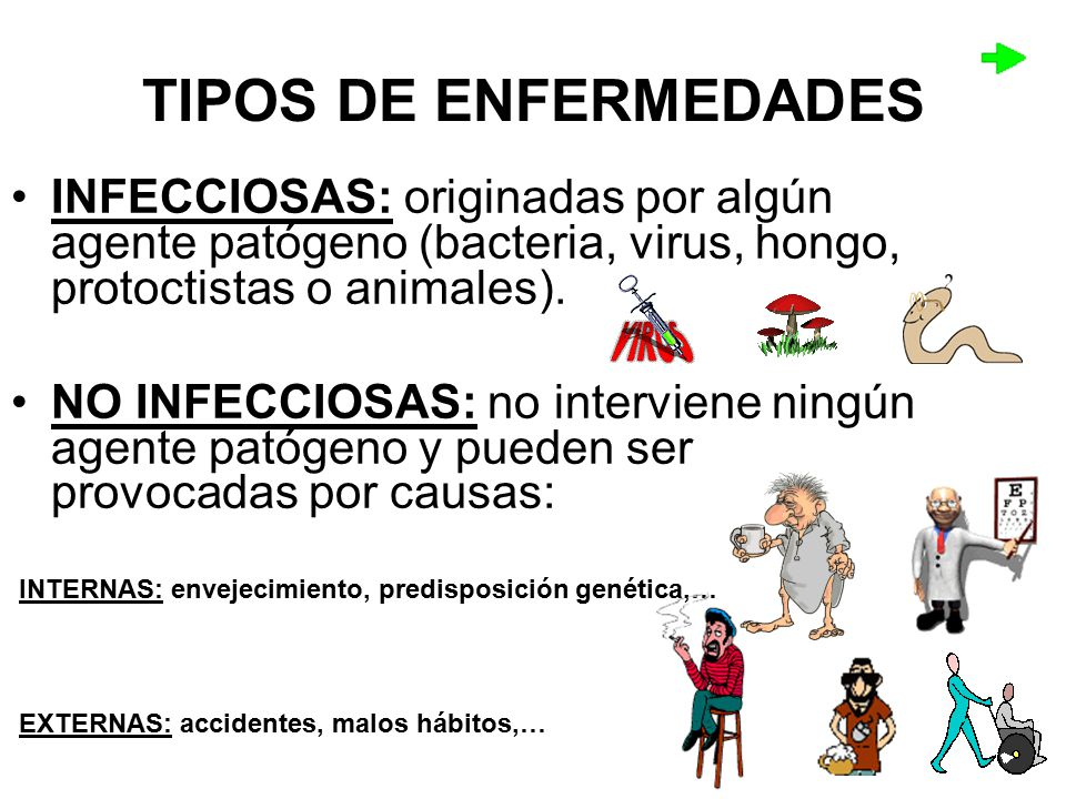 TIPOS DE ENFERMEDADES INFECCIOSAS: originadas por algún agente patógeno (bacteria, virus, hongo, protoctistas o animales).