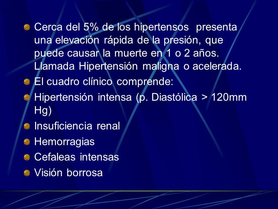 Cerca del 5% de los hipertensos presenta una elevación rápida de la presión, que puede causar la muerte en 1 o 2 años. Llamada Hipertensión maligna o acelerada.