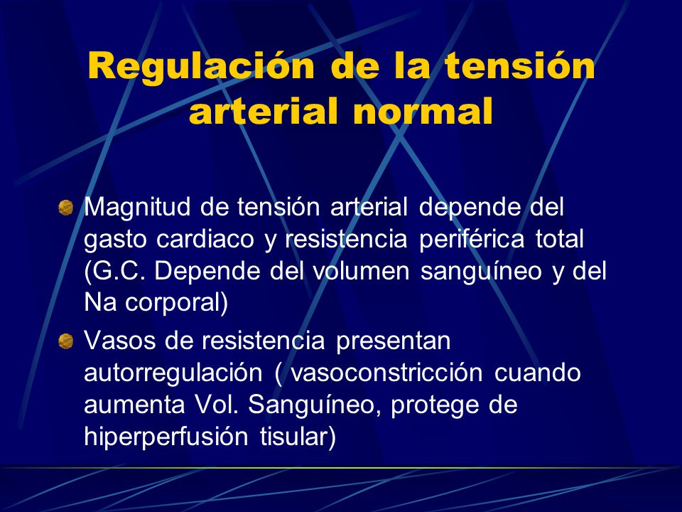 Regulación de la tensión arterial normal