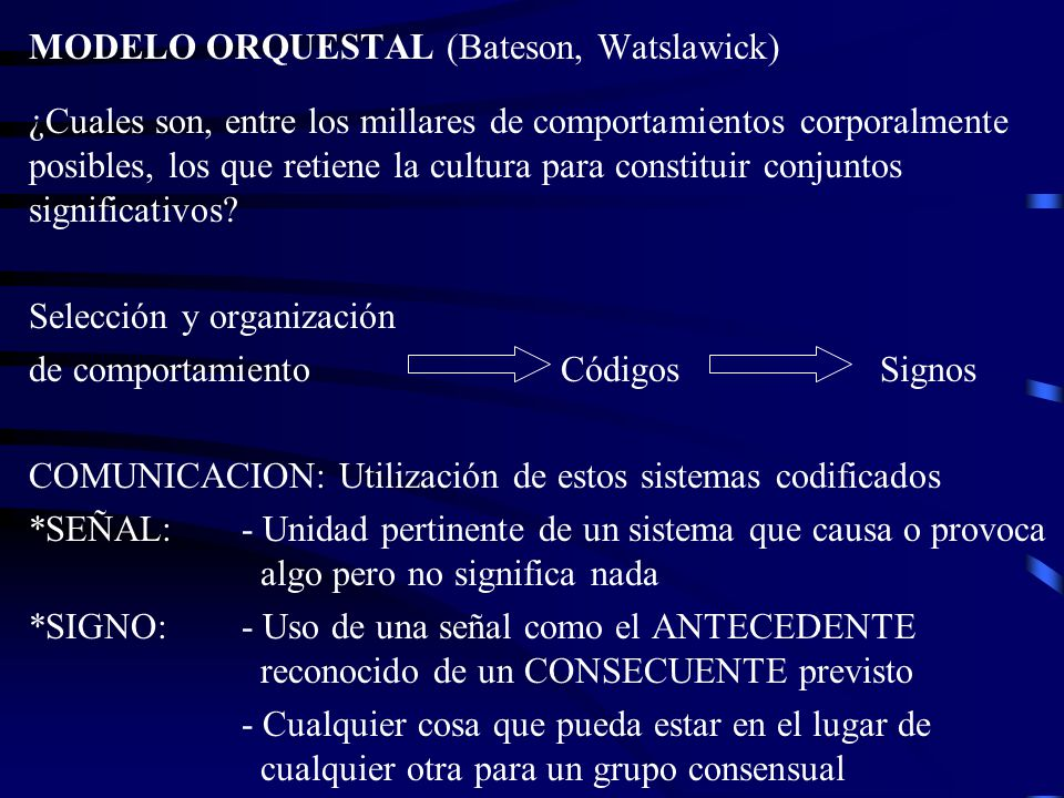 MODELO ORQUESTAL (Bateson, Watslawick)