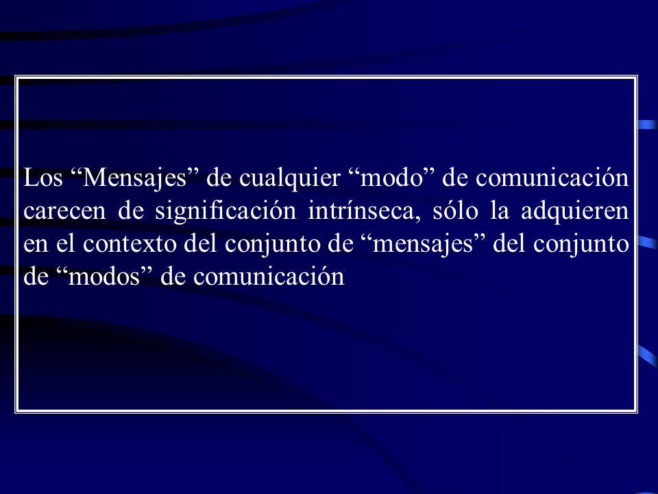 Los Mensajes de cualquier modo de comunicación carecen de significación intrínseca, sólo la adquieren en el contexto del conjunto de mensajes del conjunto de modos de comunicación