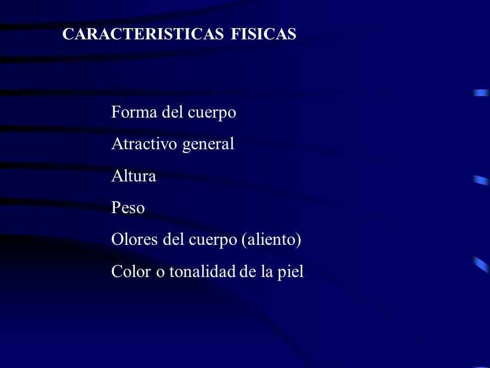 Olores del cuerpo (aliento) Color o tonalidad de la piel