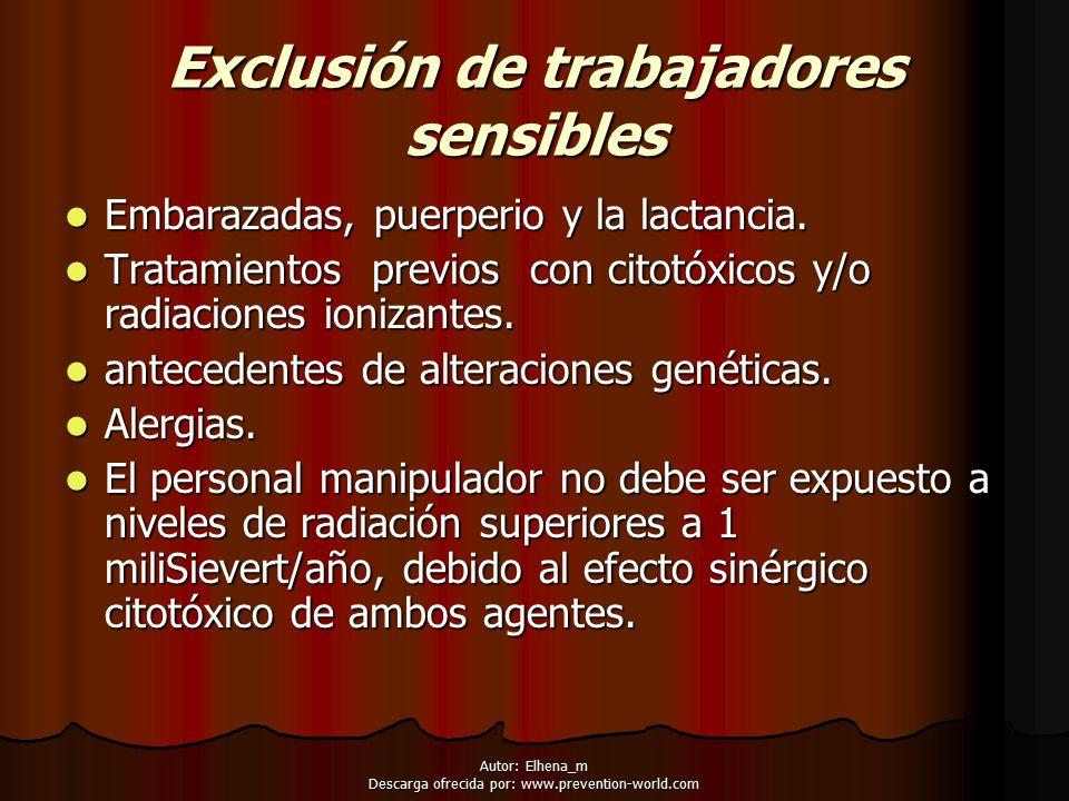 Exclusión de trabajadores sensibles