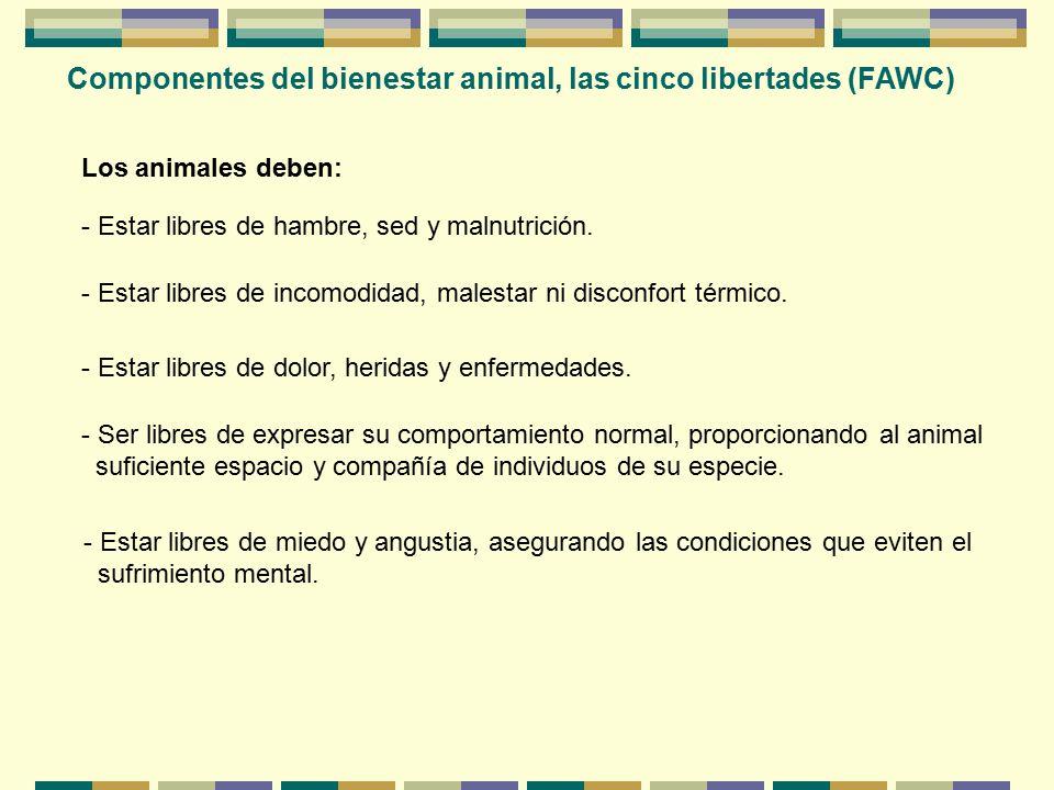 Componentes del bienestar animal, las cinco libertades (FAWC)