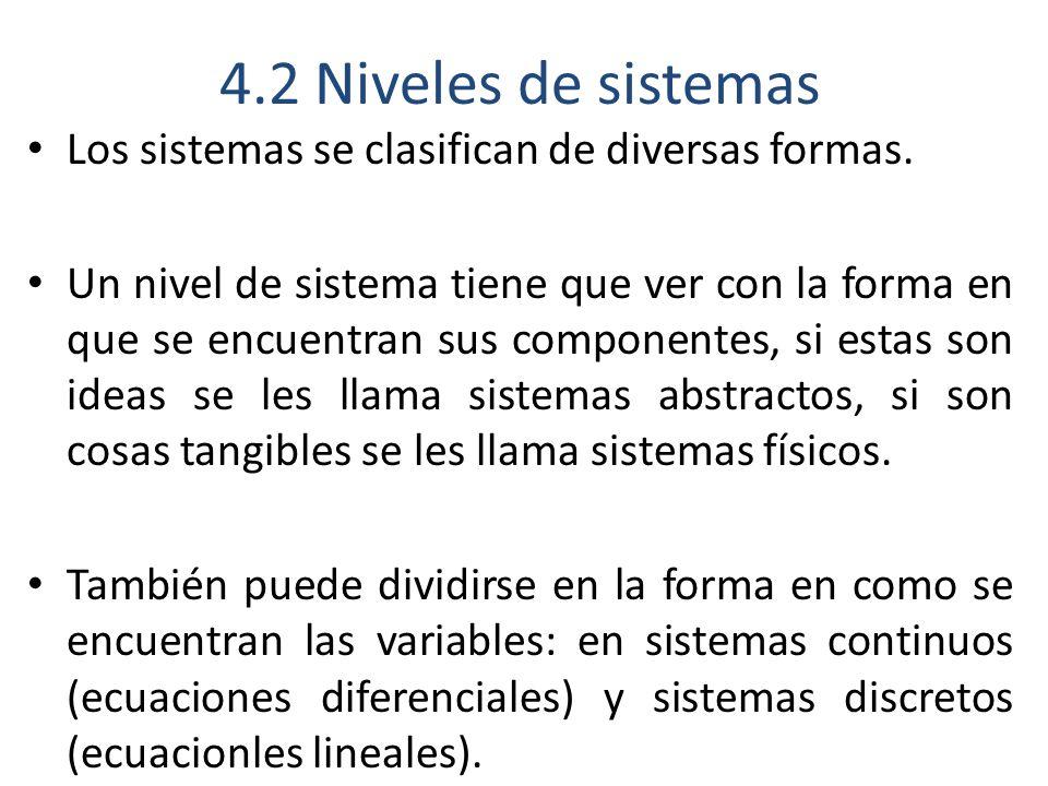 4.2 Niveles de sistemas Los sistemas se clasifican de diversas formas.