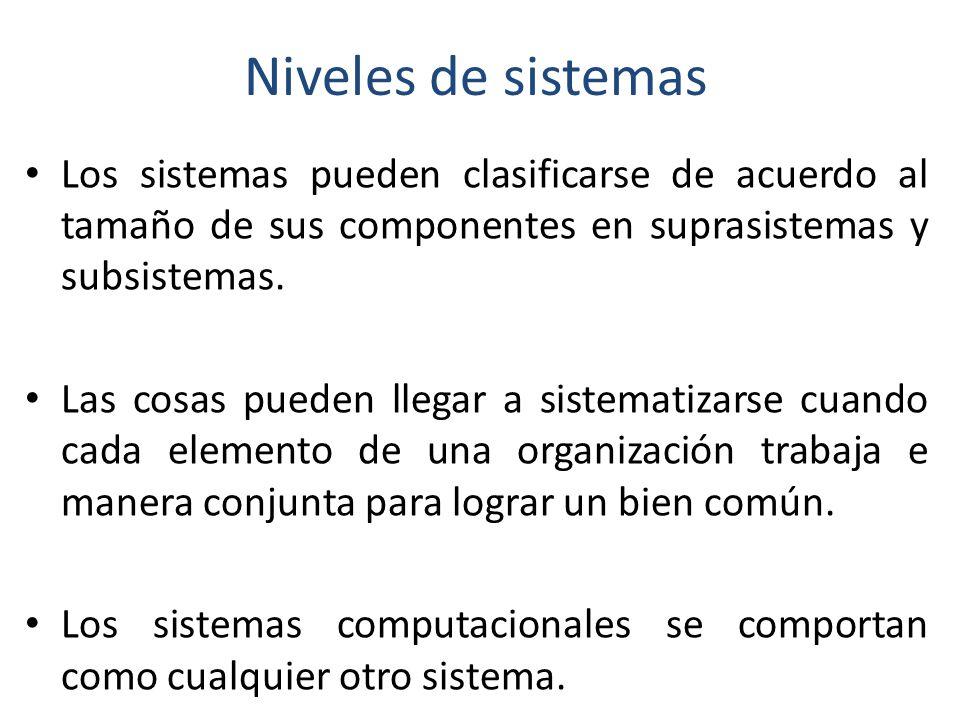 Niveles de sistemas Los sistemas pueden clasificarse de acuerdo al tamaño de sus componentes en suprasistemas y subsistemas.