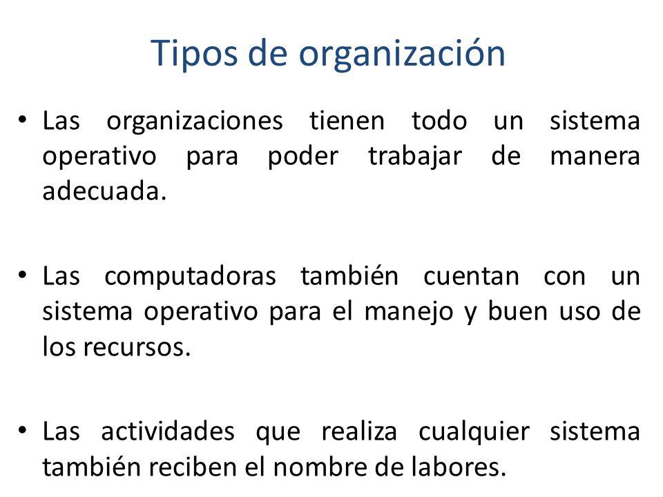Tipos de organización Las organizaciones tienen todo un sistema operativo para poder trabajar de manera adecuada.