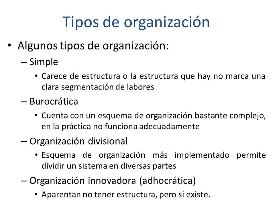 Tipos de organización Algunos tipos de organización: Simple