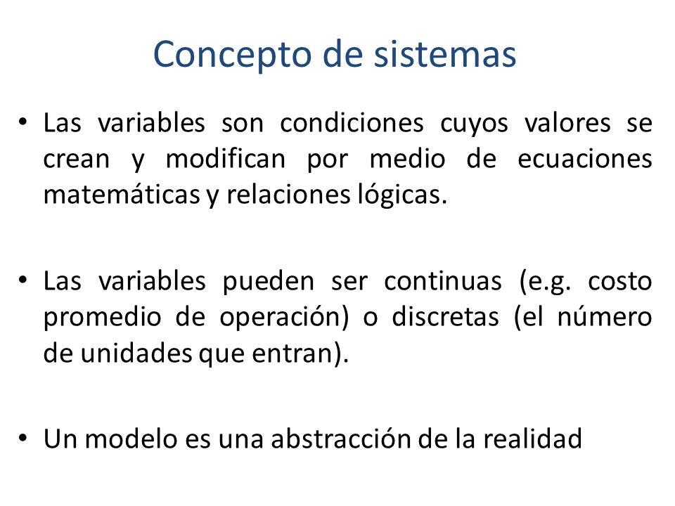 Concepto de sistemas Las variables son condiciones cuyos valores se crean y modifican por medio de ecuaciones matemáticas y relaciones lógicas.