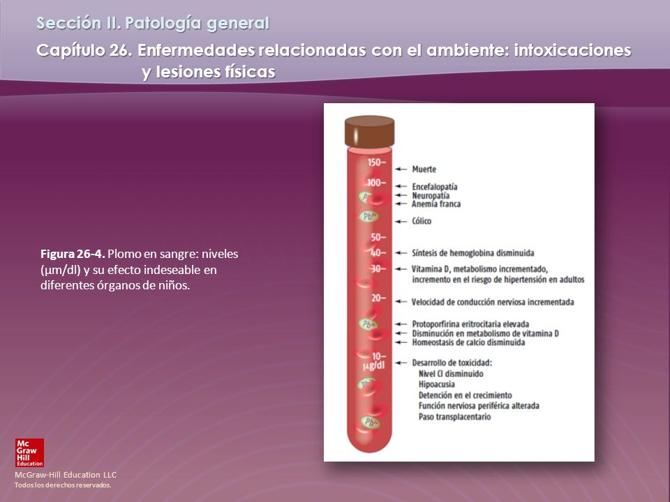 Figura 26-4. Plomo en sangre: niveles (µm/dl) y su efecto indeseable en diferentes órganos de niños.