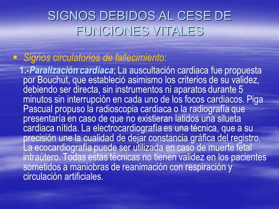 SIGNOS DEBIDOS AL CESE DE FUNCIONES VITALES