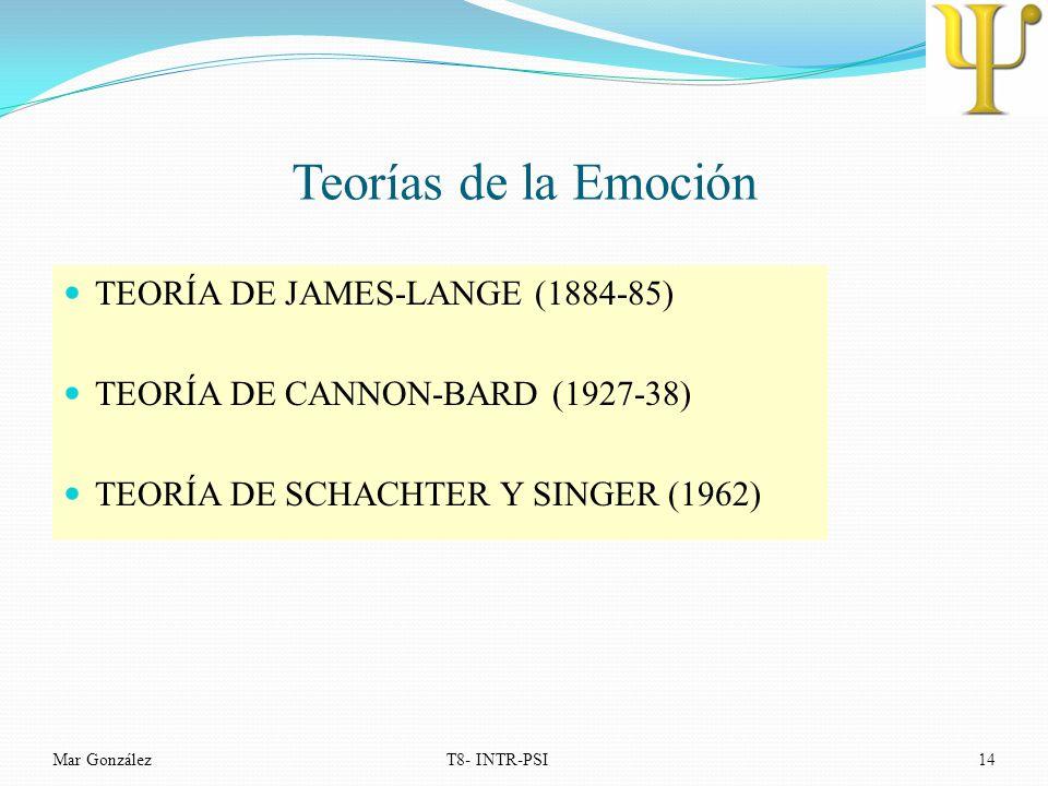 Teorías de la Emoción TEORÍA DE JAMES-LANGE (1884-85)