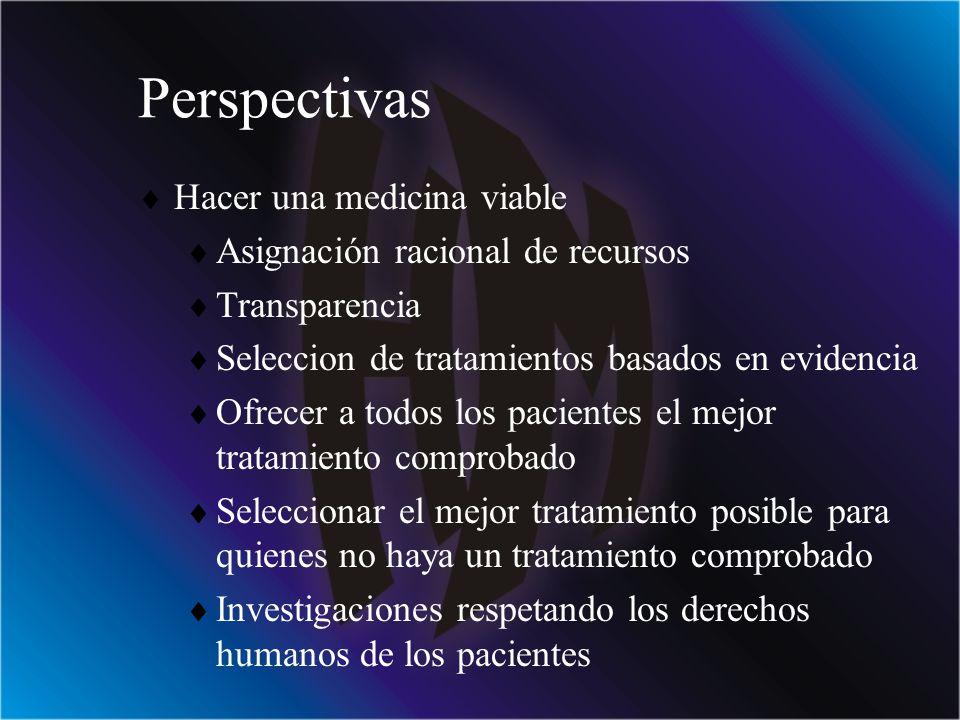 Perspectivas Hacer una medicina viable Asignación racional de recursos