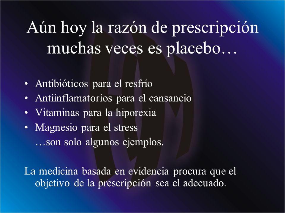 Aún hoy la razón de prescripción muchas veces es placebo…