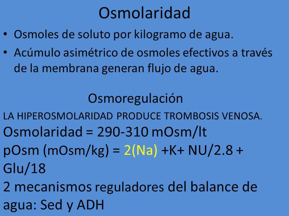 Osmolaridad Osmolaridad = 290-310 mOsm/lt