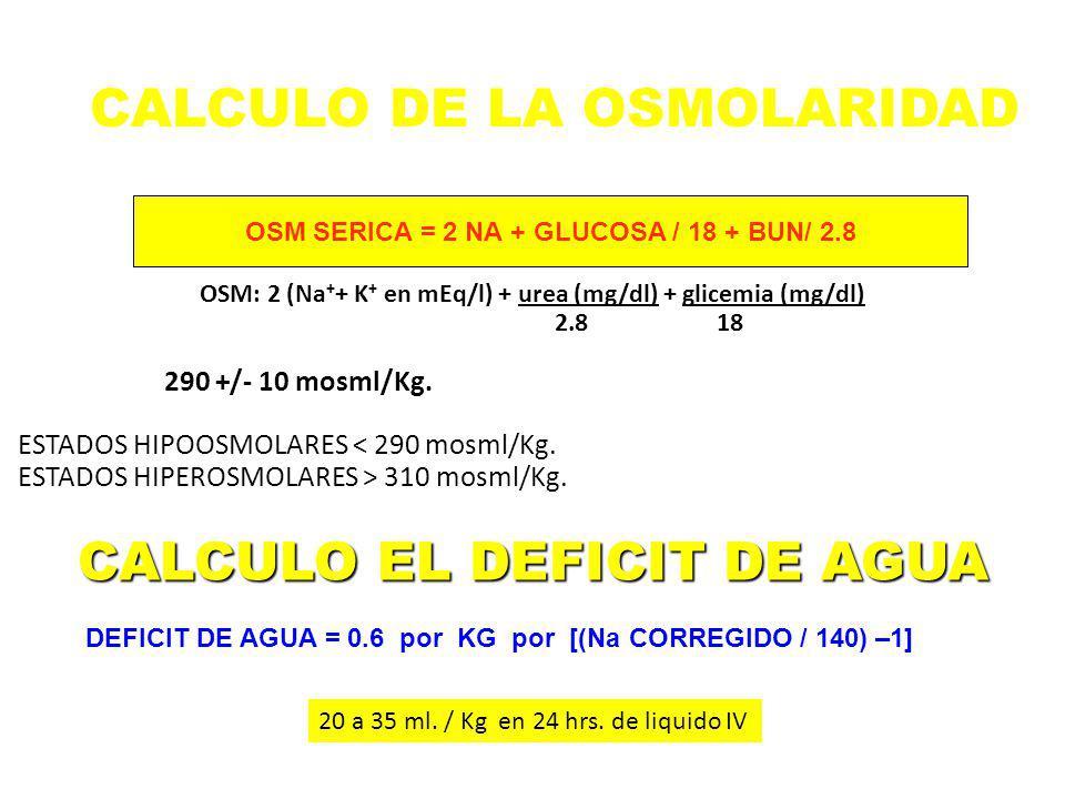 CALCULO DE LA OSMOLARIDAD