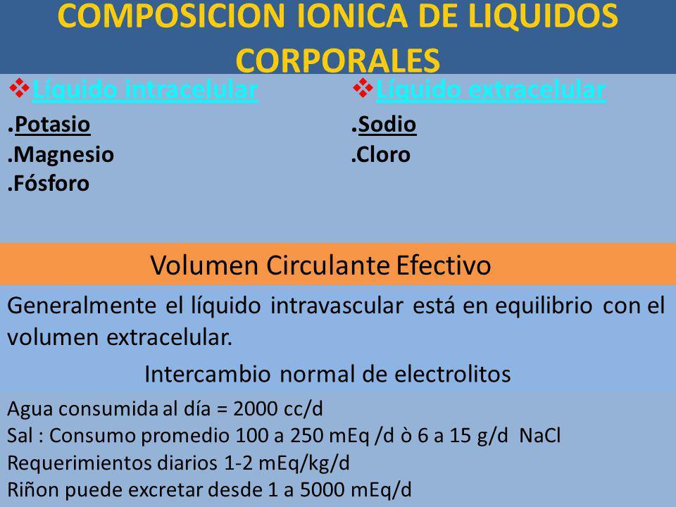 COMPOSICION IONICA DE LIQUIDOS CORPORALES