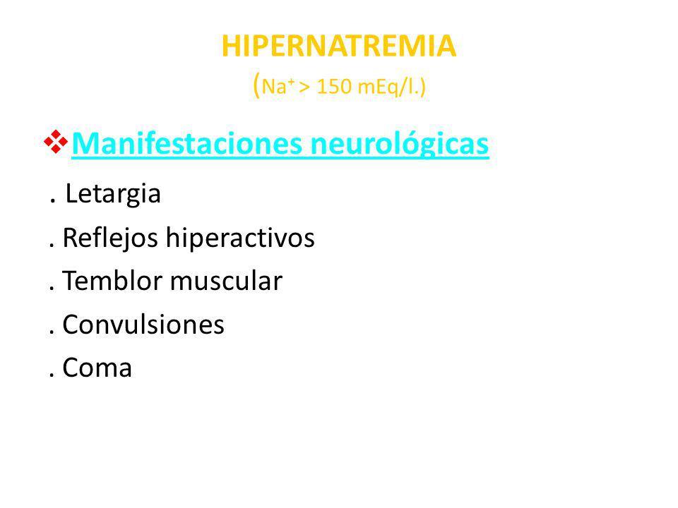 HIPERNATREMIA (Na+ > 150 mEq/l.)