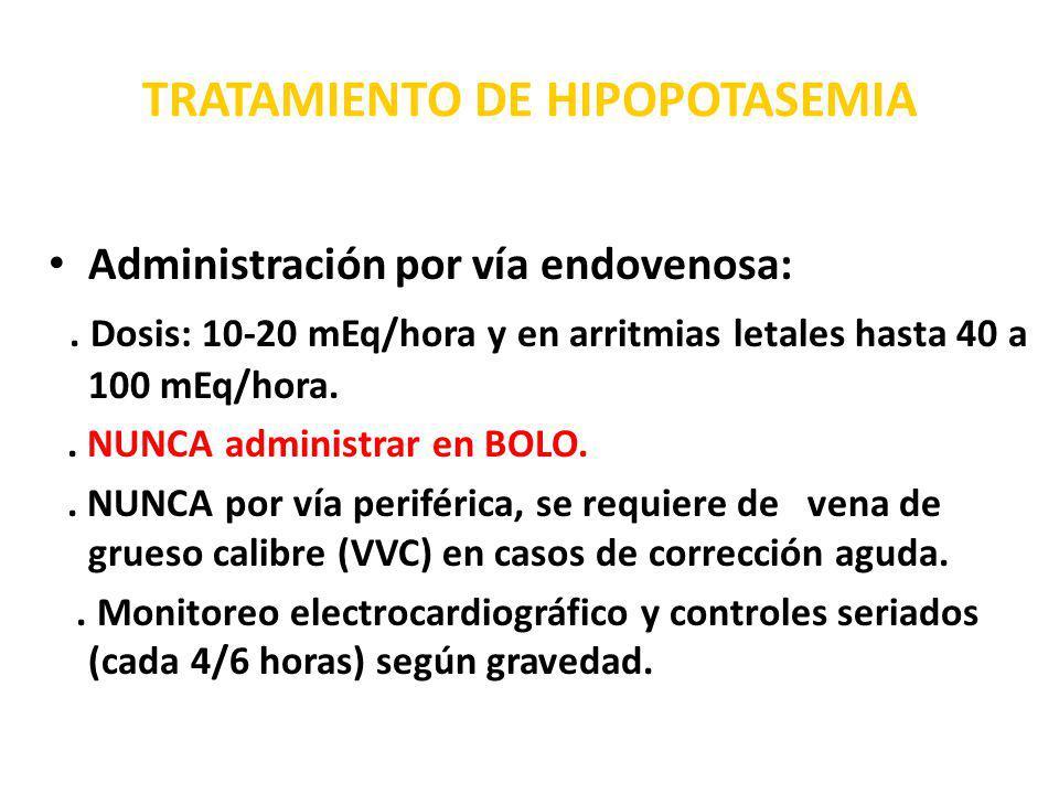 TRATAMIENTO DE HIPOPOTASEMIA