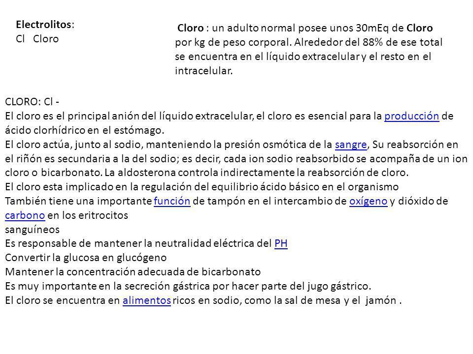 Electrolitos: Cl Cloro.