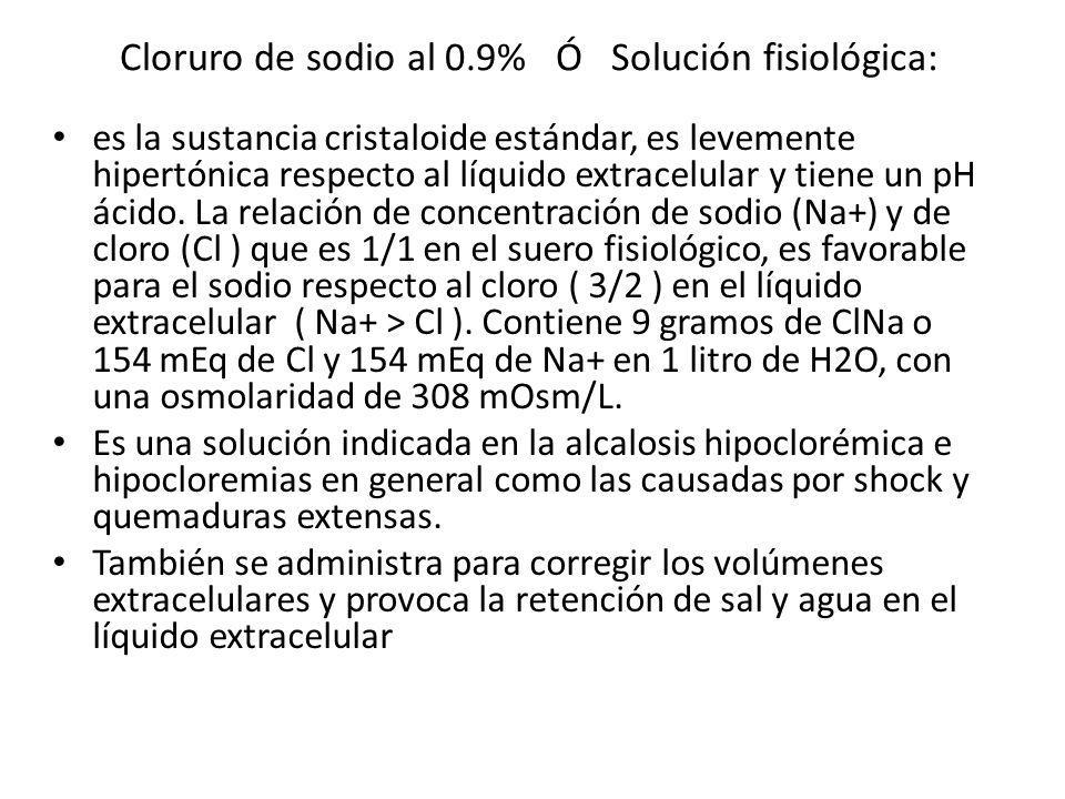 Cloruro de sodio al 0.9% Ó Solución fisiológica: