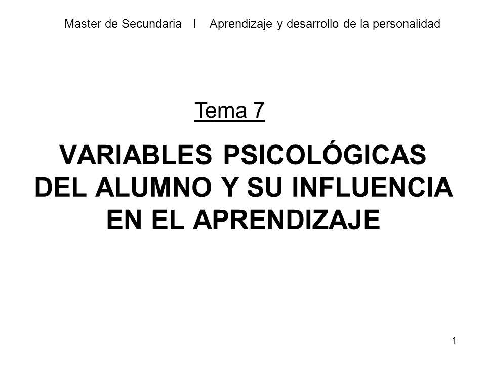 Variables Psicológicas Del Alumno Y Su Influencia En El