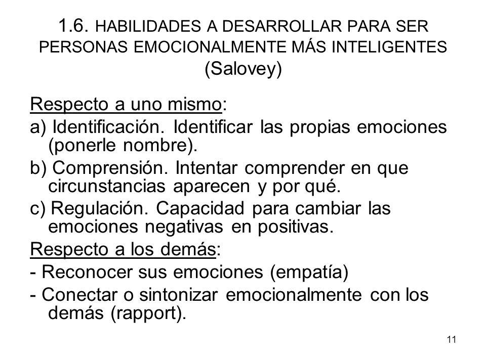 1.6. HABILIDADES A DESARROLLAR PARA SER PERSONAS EMOCIONALMENTE MÁS INTELIGENTES (Salovey)