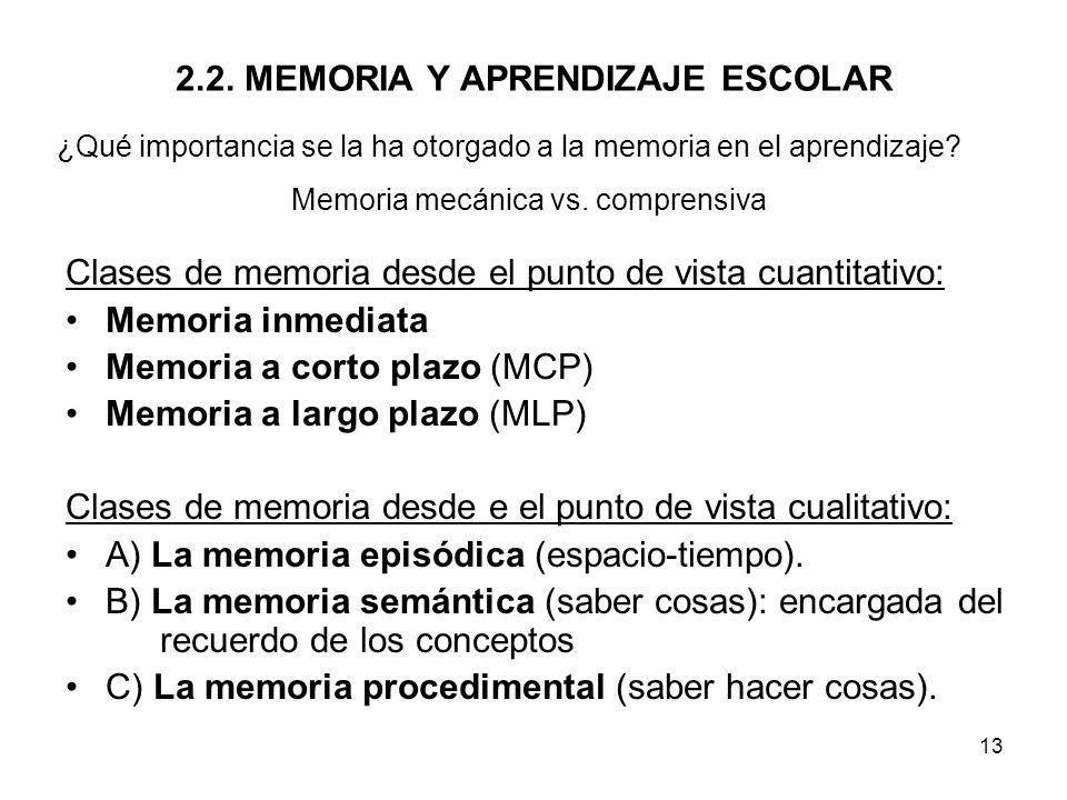 2.2. MEMORIA Y APRENDIZAJE ESCOLAR