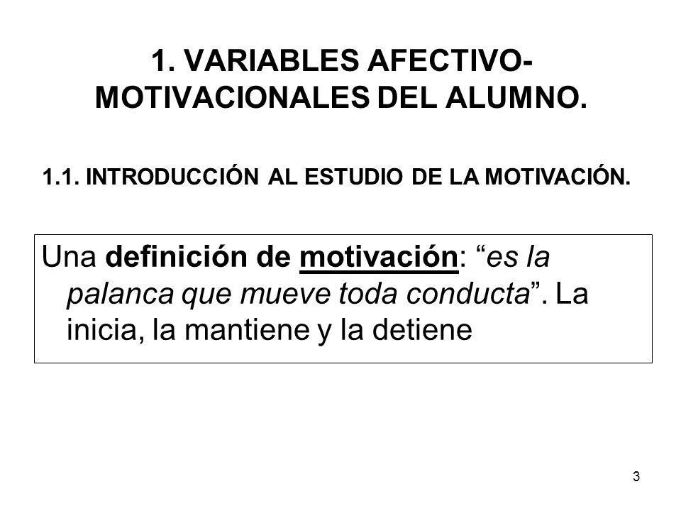 1. VARIABLES AFECTIVO-MOTIVACIONALES DEL ALUMNO.