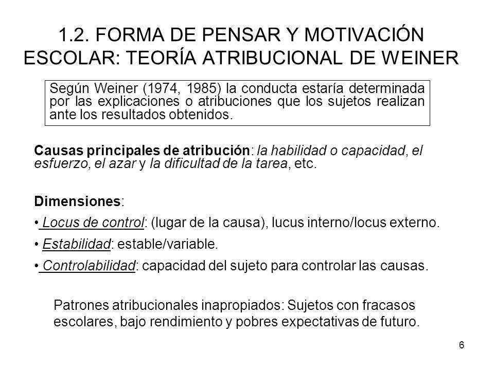 1.2. FORMA DE PENSAR Y MOTIVACIÓN ESCOLAR: TEORÍA ATRIBUCIONAL DE WEINER