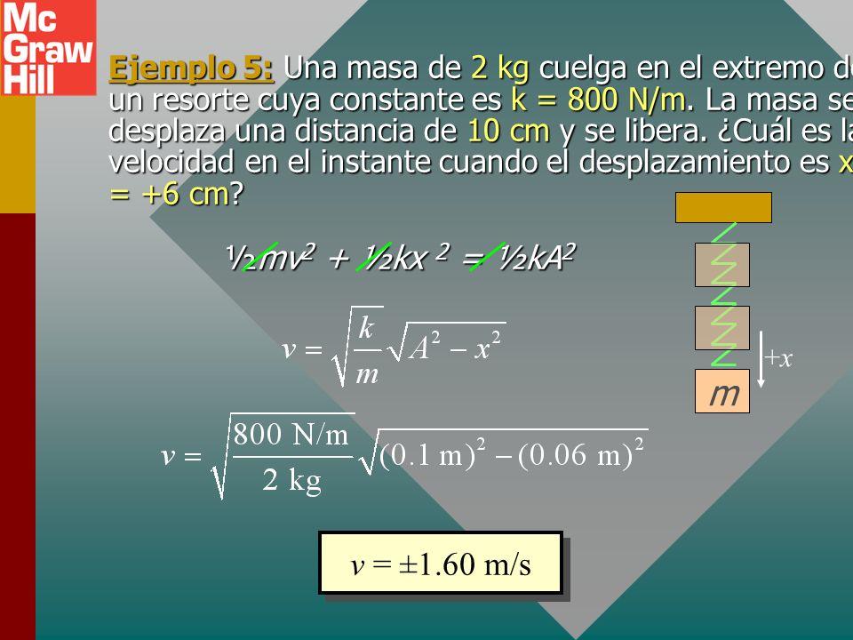 Ejemplo 5: Una masa de 2 kg cuelga en el extremo de un resorte cuya constante es k = 800 N/m. La masa se desplaza una distancia de 10 cm y se libera. ¿Cuál es la velocidad en el instante cuando el desplazamiento es x = +6 cm