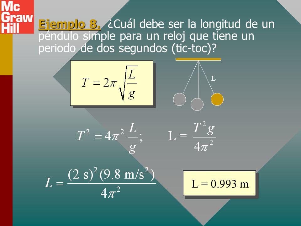 Ejemplo 8. ¿Cuál debe ser la longitud de un péndulo simple para un reloj que tiene un periodo de dos segundos (tic-toc)