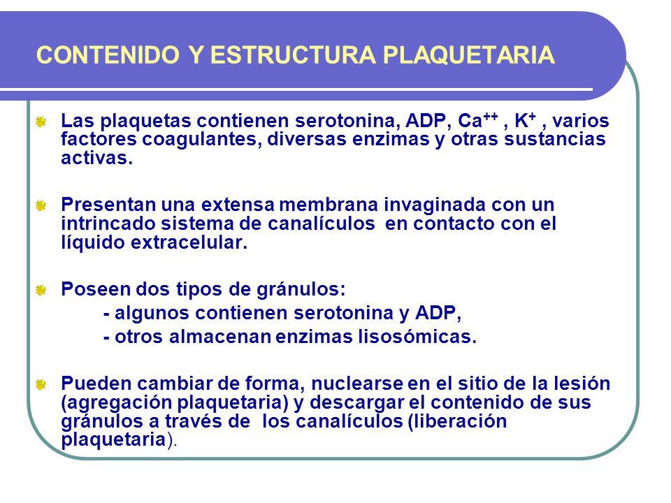 CONTENIDO Y ESTRUCTURA PLAQUETARIA