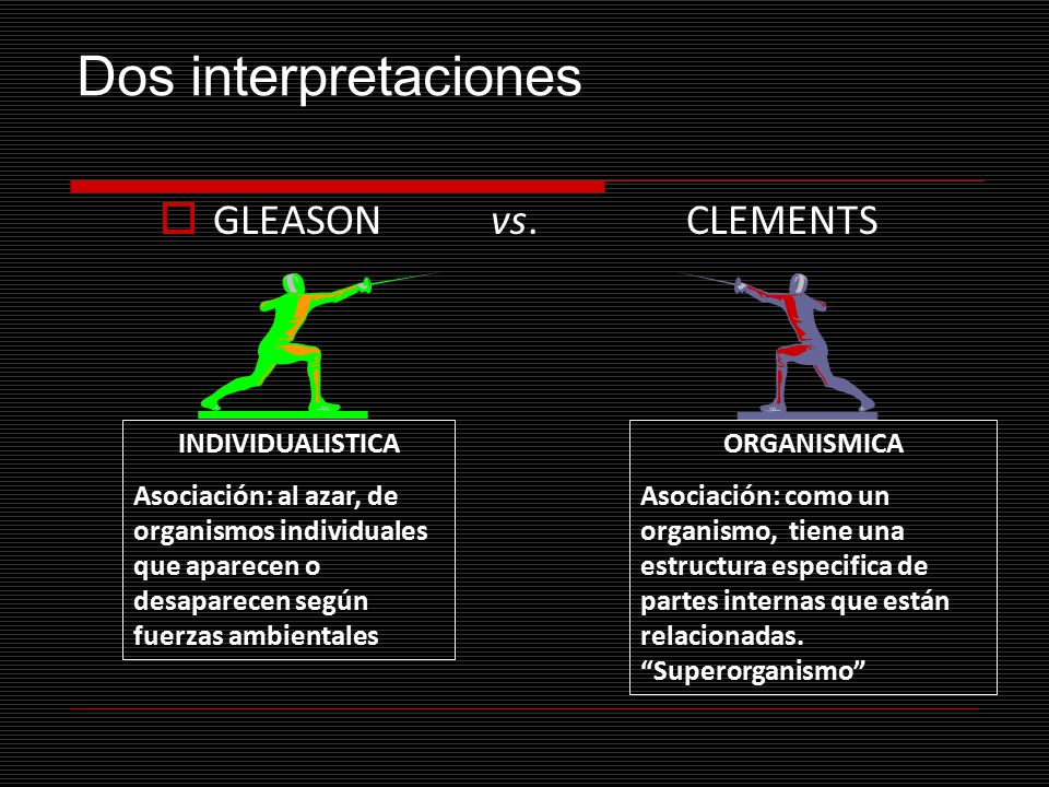 Dos interpretaciones GLEASON vs. CLEMENTS INDIVIDUALISTICA