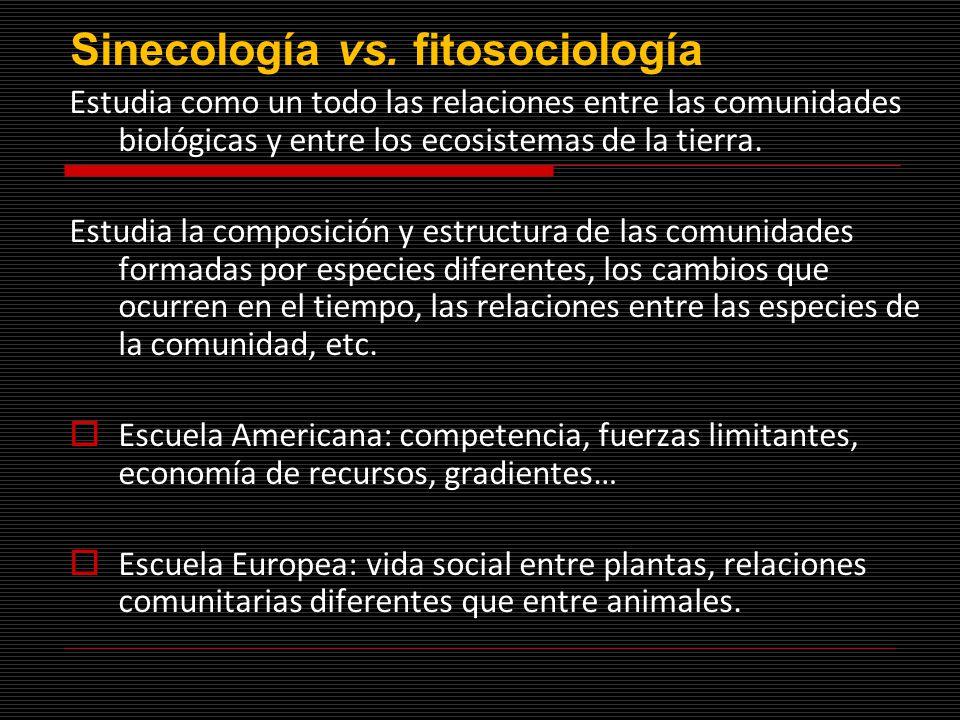 Sinecología vs. fitosociología