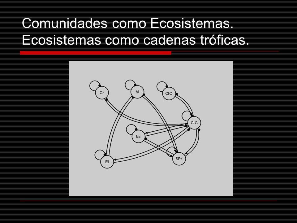 Comunidades como Ecosistemas. Ecosistemas como cadenas tróficas.