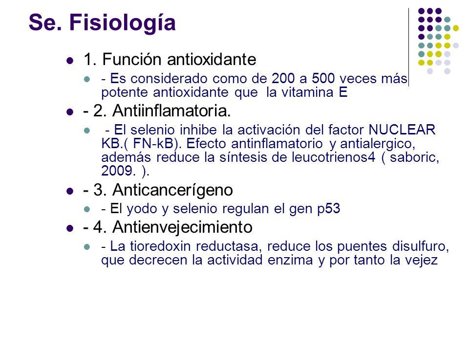 Se. Fisiología 1. Función antioxidante - 2. Antiinflamatoria.