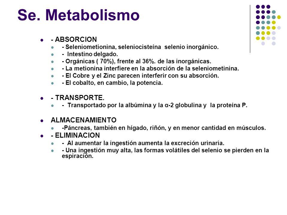 Se. Metabolismo - ABSORCION - TRANSPORTE. ALMACENAMIENTO - ELIMINACION