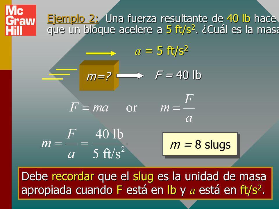 Ejemplo 2: Una fuerza resultante de 40 lb hace que un bloque acelere a 5 ft/s2. ¿Cuál es la masa