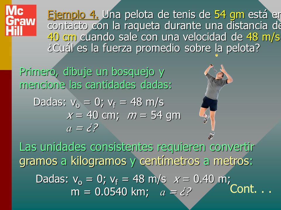 Ejemplo 4. Una pelota de tenis de 54 gm está en contacto con la raqueta durante una distancia de 40 cm cuando sale con una velocidad de 48 m/s. ¿Cuál es la fuerza promedio sobre la pelota