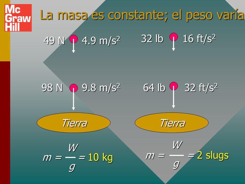 La masa es constante; el peso varía.