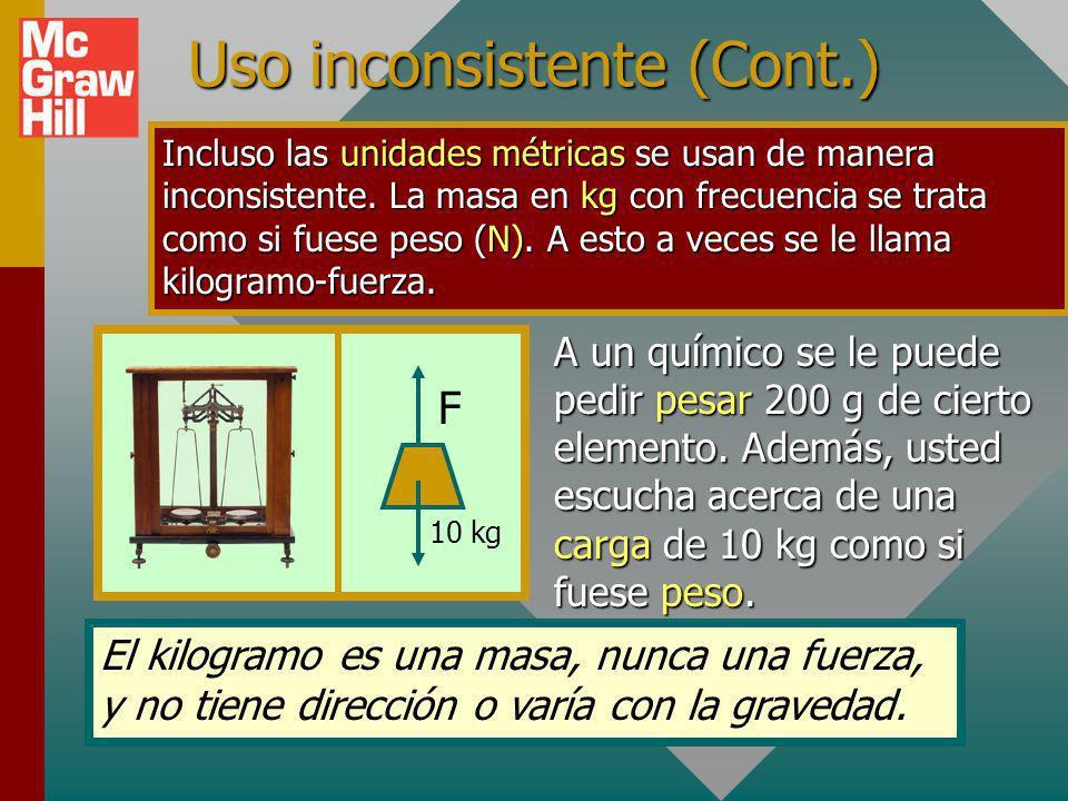 Uso inconsistente (Cont.)