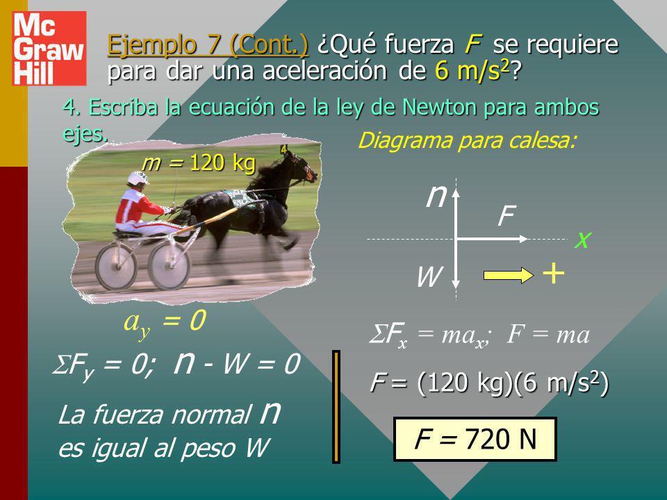 n + ay = 0 F x W SFx = max; F = ma SFy = 0; n - W = 0 F = 720 N