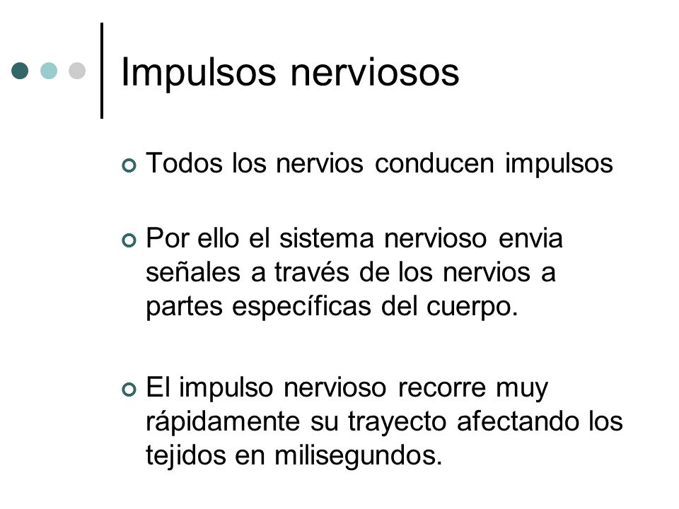 Impulsos nerviosos Todos los nervios conducen impulsos