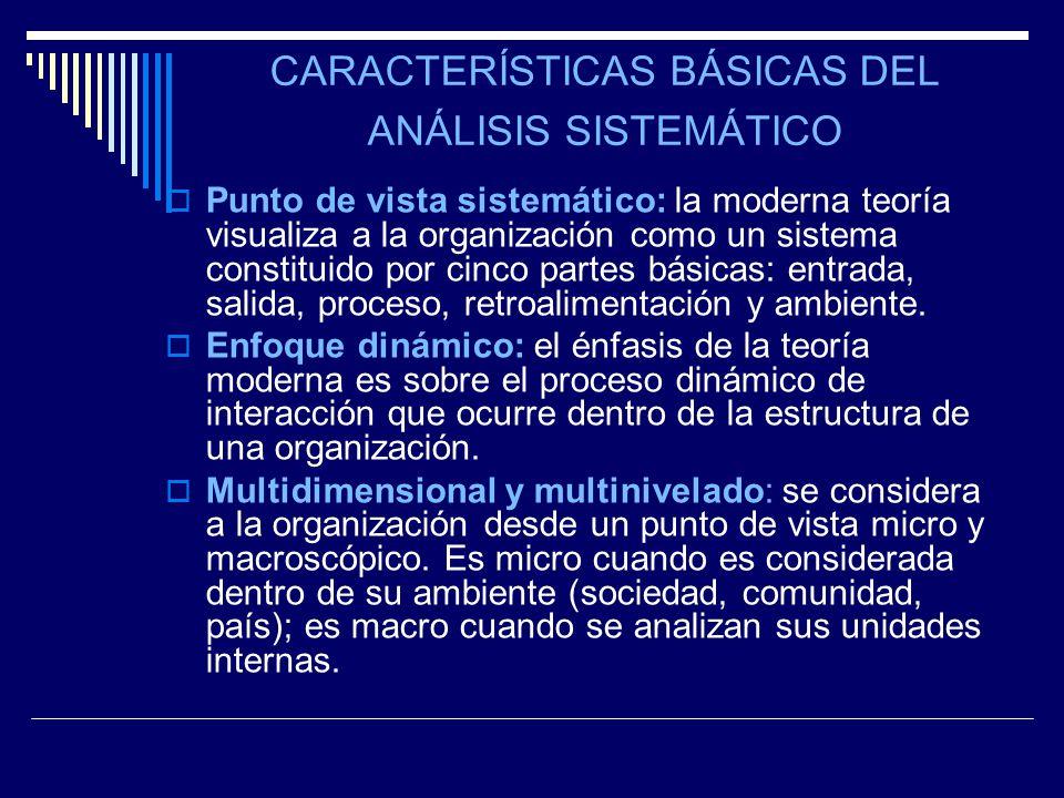 CARACTERÍSTICAS BÁSICAS DEL ANÁLISIS SISTEMÁTICO