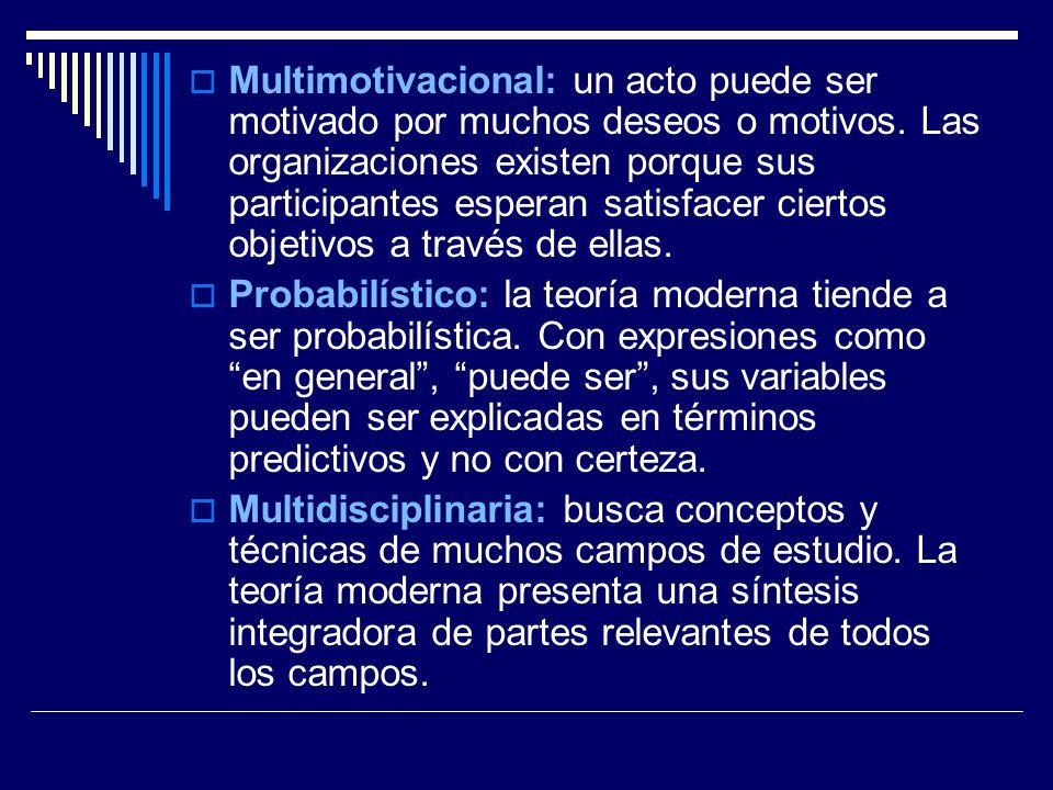 Multimotivacional: un acto puede ser motivado por muchos deseos o motivos. Las organizaciones existen porque sus participantes esperan satisfacer ciertos objetivos a través de ellas.