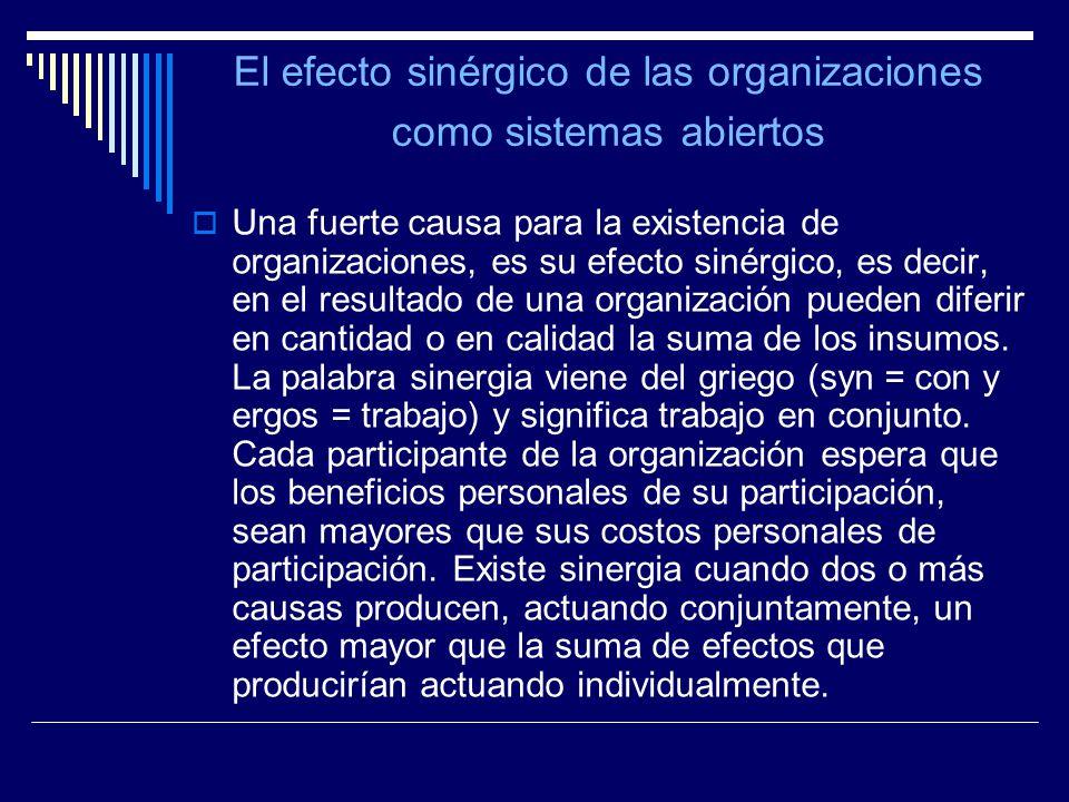 El efecto sinérgico de las organizaciones como sistemas abiertos